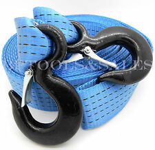 2 Inch x 20 Ft. Polyester Tow Strap Rope 2 Hooks 12,000lb Heavy Duty