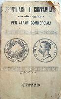1893 PRONTUARIO CONTABILITA' TABELLINE DALL'UNO AL 1000 RAGGUAGLIO PESI E MISURE