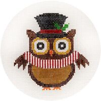 NEEDLEPOINT HandPainted JP Needlepoint TOP Hat Owl Ornament 4.5""
