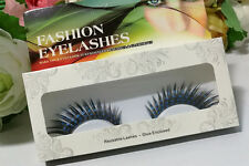 Black exaggerated dramatic stage makeup blue dot fake false eyelash eye lashes