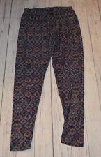 Lularoe Tall Curvy Diamond Print Purple Polyester Spandex Tight Leggings Blue