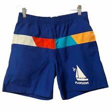 Vintage Hugo Valentino Beach Club Collection Swim Trunks S Flordia Blue Pride