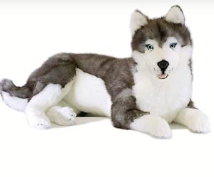 ~❤️BOCCHETTA Husky ROCCO Large 62cm 24' Grey & White plush soft toy Dog NWT❤️