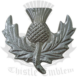 TE Scottish Glengarry Cap Badges Thistle Heritage Pin Chrome Finish/Balm ora Hat