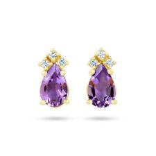 Pendientes de joyería con gemas sin tratar morado