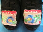 HUNGARIAN HAND KALOCSA EMBROIDERED BLACK LACE-UP CANVAS TENNIS SHOES B Size 9