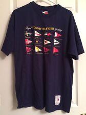 Tommy Hilfiger Mens Royal Yacht Club Flag Logos T Shirt Navy Size Large Vintage