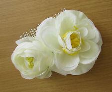 Ivory Camellia Rose Flower Hair Comb Bridesmaid Ranunculus Rockabilly Vtg B44