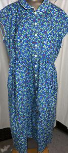 Vintage Lanz Of Salzburg Blue W/ Berries Cotton House Dress XL Nightgown