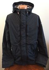 $180 Mens L Large Abercrombie & Fitch Light Weight Coat Hoodie Jacket Navy Blue