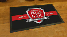 Personalised with your name Red & Chrome beer label Beer label Bar runner