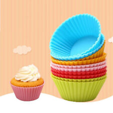12Pcs Muffin Cases Silicone Cupcake Mould 7cm Reusable Round Baking UK Stock,