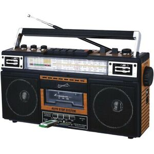Supersonic SC-3201BT-WD 4-Band Bluetooth Radio & Cassette Player Boombox - Wood