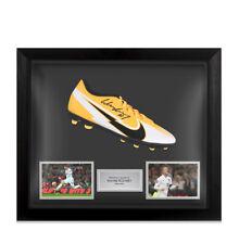 More details for framed wayne rooney signed football boot - mercurial vapor, orange/white - bubbl