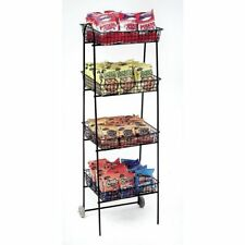 Retail Mobile Display Wire Rack, 4 Tier, Wire, 56260, Black