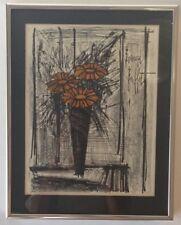 """Framed Lithograph """"Flower"""" signed  by Bernard Buffet Mid Century Modern"""