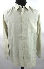 Alan Flusser Mens 100% Linen Tan Button Front Casual Shirt XL X Large