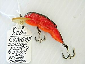 REBEL Crawdad Shallow Floater - Red with Black Back Crankbait Fishing Lure