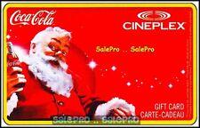 CINEPLEX 2012 CHRISTMAS SANTA CHEERING COCA COLA BOTTLE COLLECTIBLE GIFT CARD