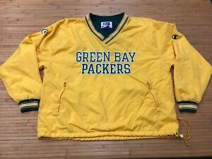 MEns XL Vtg 90s NFL Green Bay Packers Lined Champion Pullover Windbreaker Jacket