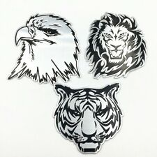 3D DIY Silver Lion/Tiger Head Metal Logo Sticker Car Motorcycle Badge Emblem CA