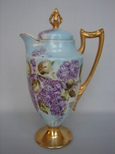 """Antique CMC Limoges 11"""" Footed Chocolate Pot Hand Painted Lilacs Gold Trim"""