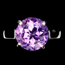 Plate 925 Sterling Silver Ring 6.5 Unheated Round Amethyst 10mm 14K White Gold