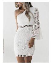Club L London White One Shoulder Crochet Dress UK 16 BNWT