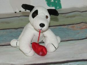 """Russ White Black Puppy Dog  Luv Pets Suede Mini Red Heart Bean Bag Plush Toy 5"""""""
