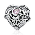 925 Silver Opulent Heart Orchid &Clear CZ Charm Bead fit Sterling Bracelet Chain