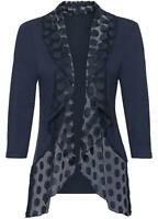 Lightweight Jersey Waterfall 'cover up' Jacket with spotted mesh front size 18