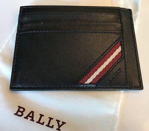 475$ Bally Black Leather Card Holder
