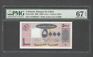 Lebanon 5000 Lira 2008 P85d Uncirculated Graded 67