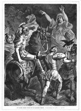 Germains voyante prévient le romain varus Drusus, gravure sur bois d'environ 1880