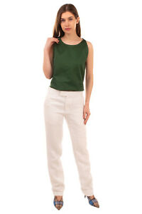 RRP €490 HELMUT LANG Tailored Trousers Size 4 / S Ivory Hemp Blend Flat Front