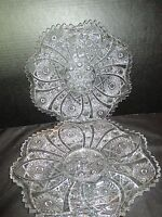 """Imperial Glass Daisy & Button Set of 2 Sandwich Plates 10 1/2"""" Across"""