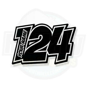 """RACE NUMBERS DECALS STICKERS GRAPHICS """"POW2"""" MOTORCYCLE CAR 2-COLOUR"""