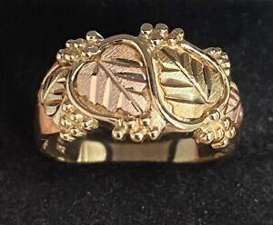 10k Gold Tri Color Black Hills Leaf Design Men/Women Wedding Band Ring size10