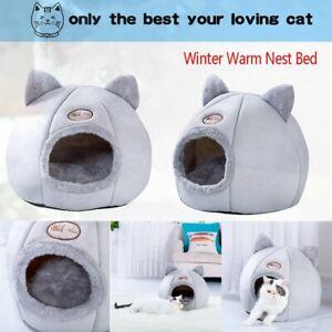 Soft Cotton Dog Cat Sleep Bed Foldable Winter Warm House Bed Cushion Pet Nest