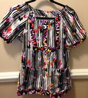 Koi Scrub Top Style 149PR Black White Colorful Size XS Kathy Peterson