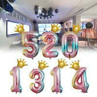"32"" Number 0-9 Foil Helium Balloons + 16"" Crown Gradient Birthday Party Decor Vy"