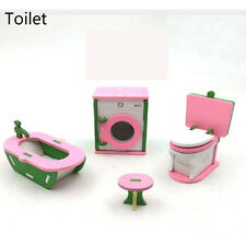 2017 Children Gift Kids Wooden Toy Furniture Doll House Set DIY Educational Toys Toilet