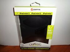 Genuine Griffin iPad mini 1, 2, 3 Case w/Stand Black Survivor All-Terrain Rugged