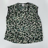 Cabi Jungle Green Sz Small Animal Cheetah Print Blouse Sleeveless Silky