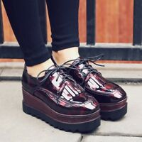 Womens Lace Up Wedge High Heels Oxfords Platform Creepers Patent Leather Shoes