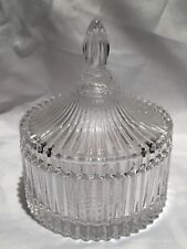 Beautiful Ribbed Clear Glass Powder Trinket Jewelry Candy Dish With Lid