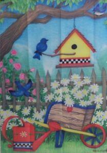 "Birdhouse Daisies Standard House Flag by Toland 28"" x 40"",  #0077"