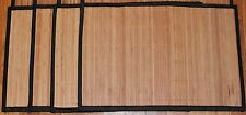 """Lot SET 4 Natural Color Bamboo Wicker Place Mats SET Hemmed Edge 12x18"""" NEW"""