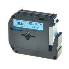 1PC Schriftband für Brother Schwarz auf Blau MK531 M-K531 M531 12mm P-touch 100