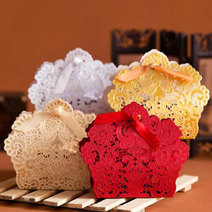 50~100pcs Paper Cake Candy Gift Boxes with Ribbon Lace Laser Cut Wedding Favor